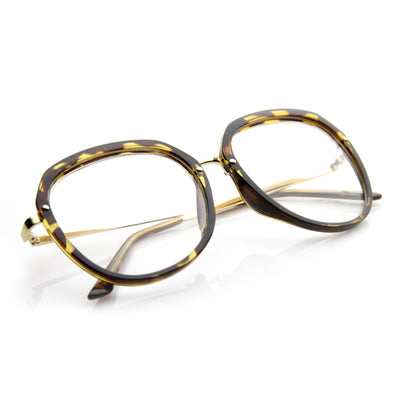 Womens Metal Plastic Frame Clear Lens Eyewear Round Glasses