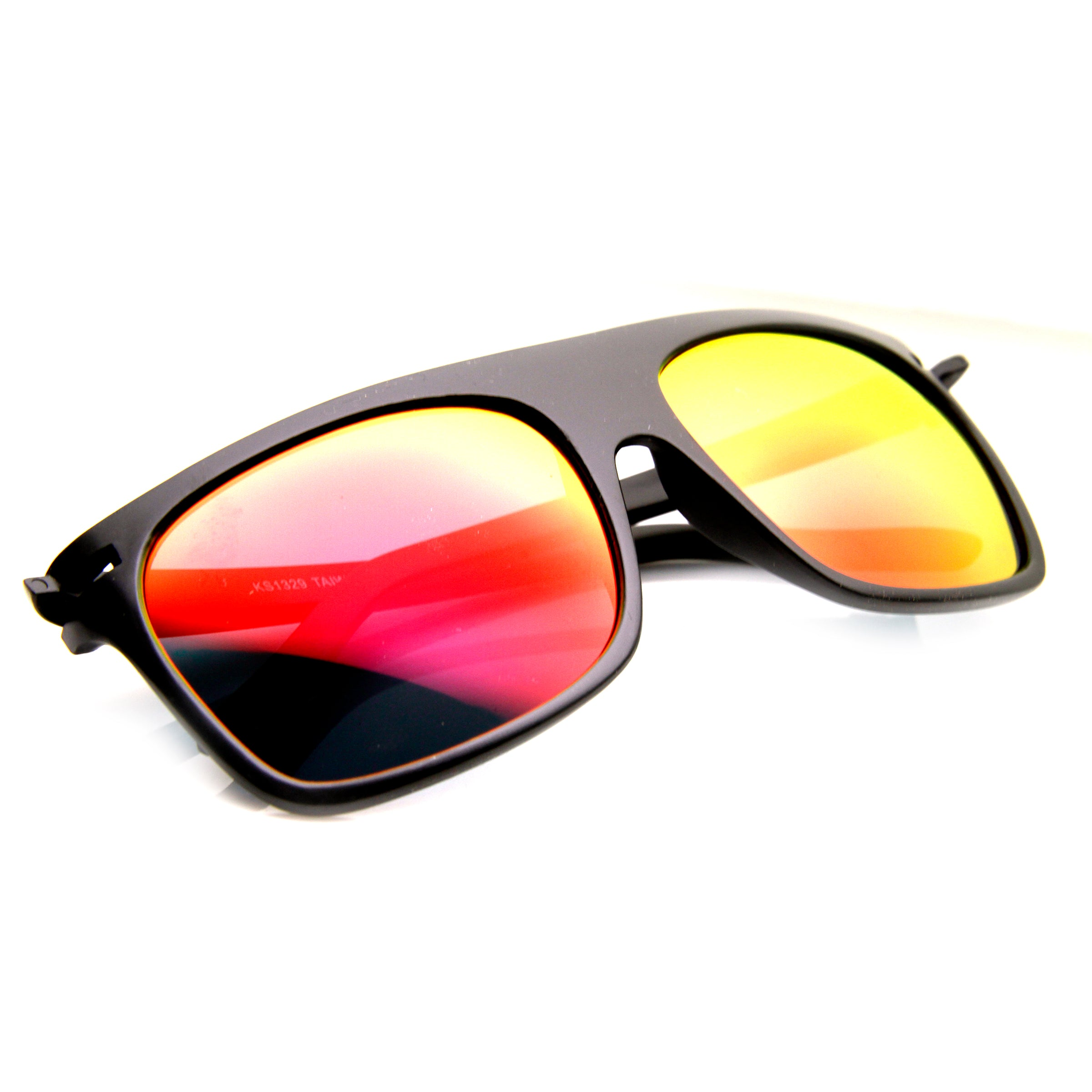 Action Sport Square Color Mirror Flash Lens Skate Flat Top Sunglasses