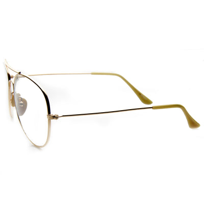 Nickel Plated Tear Drop Wire Frame Basic Metal Clear Lens Aviator Glasses