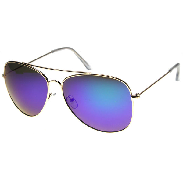 Class Large Retro Metal Mirror Lenses Aviator Sunglasses - sunglass.la