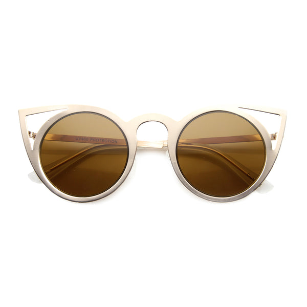 Womens Fashion Round Metal Cut-Out Flash Mirror Lens Cat Eye Sunglasses - sunglass.la - 1