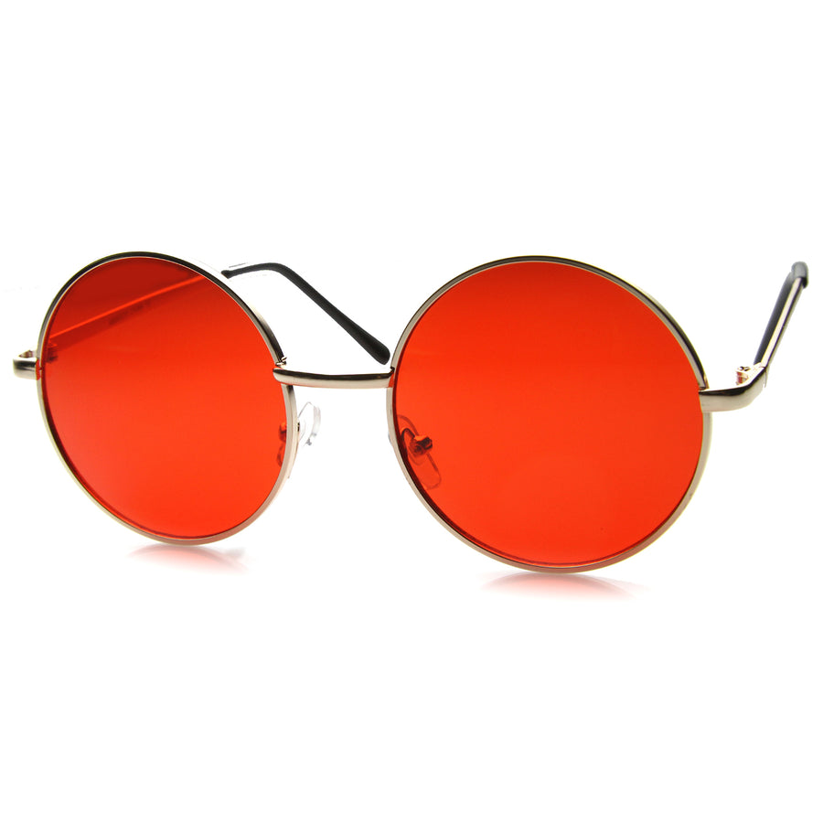 Womens Metal Round Sunglasses With UV400 Protected Composite Lens