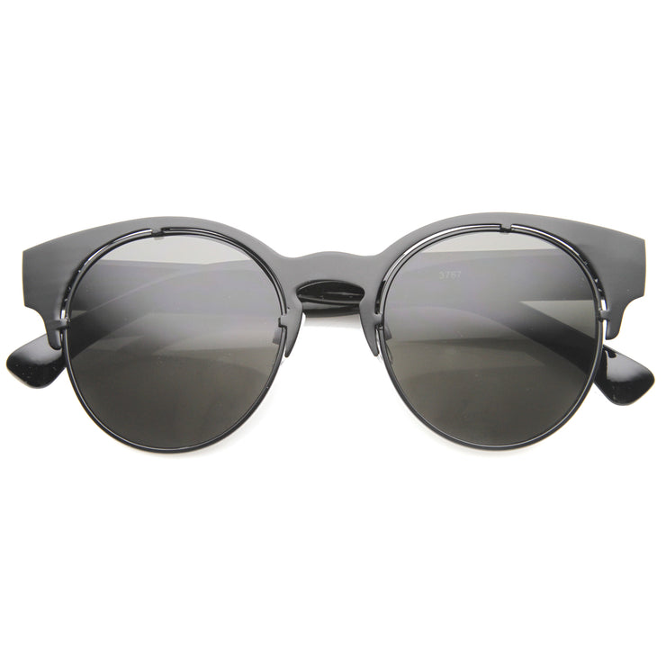 Mens Metal Semi-Rimless Sunglasses With UV400 Protected Composite Lens - sunglass.la - 1