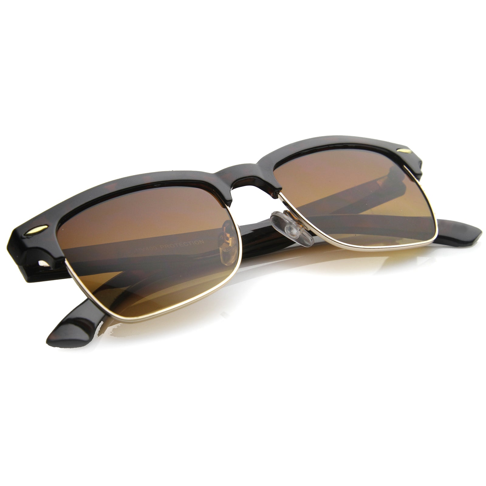 Mens Semi-Rimless Sunglasses With UV400 Protected Composite Lens - sunglass.la - 4