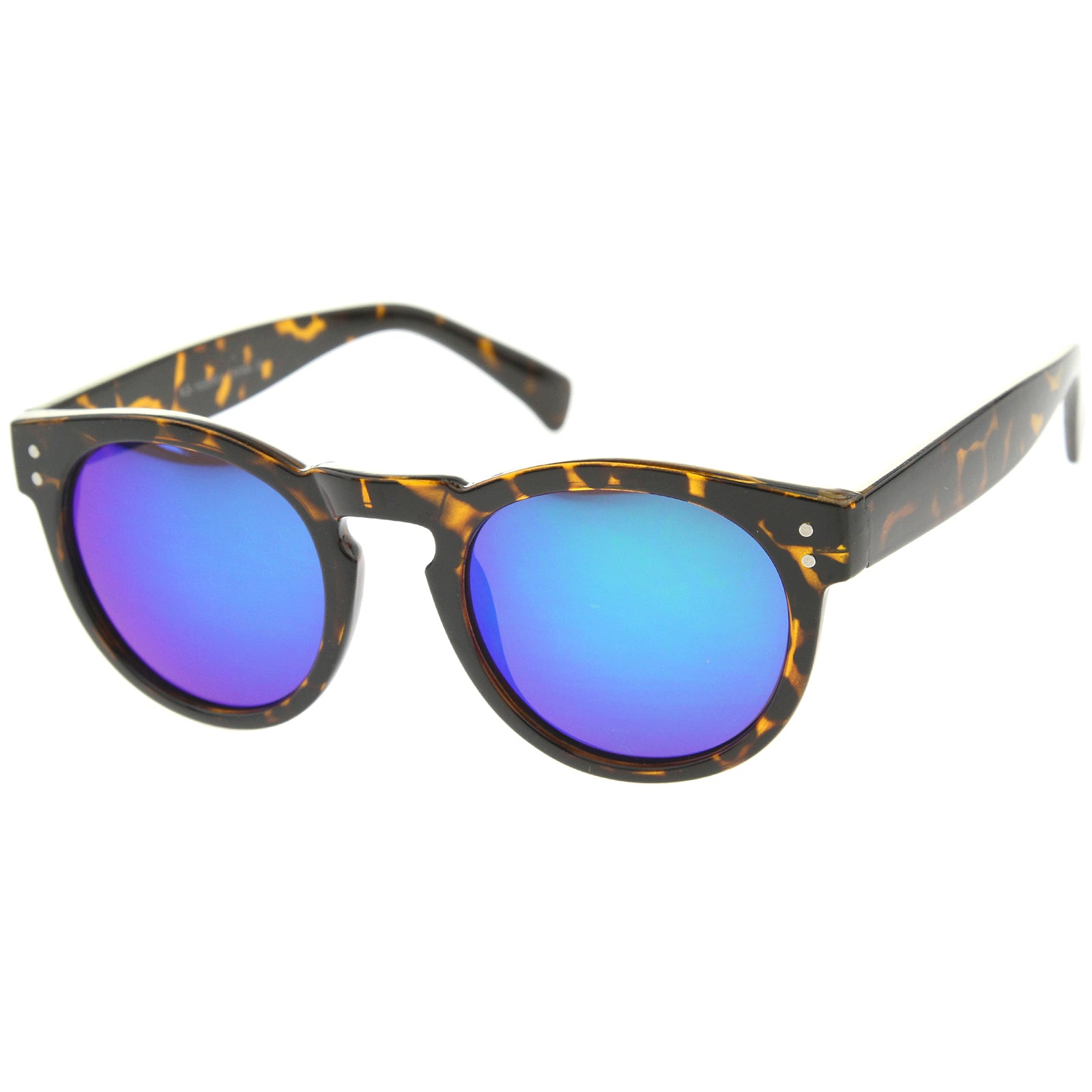 Womens Horn Rimmed Sunglasses With UV400 Protected Mirrored Lens - sunglass.la - 2