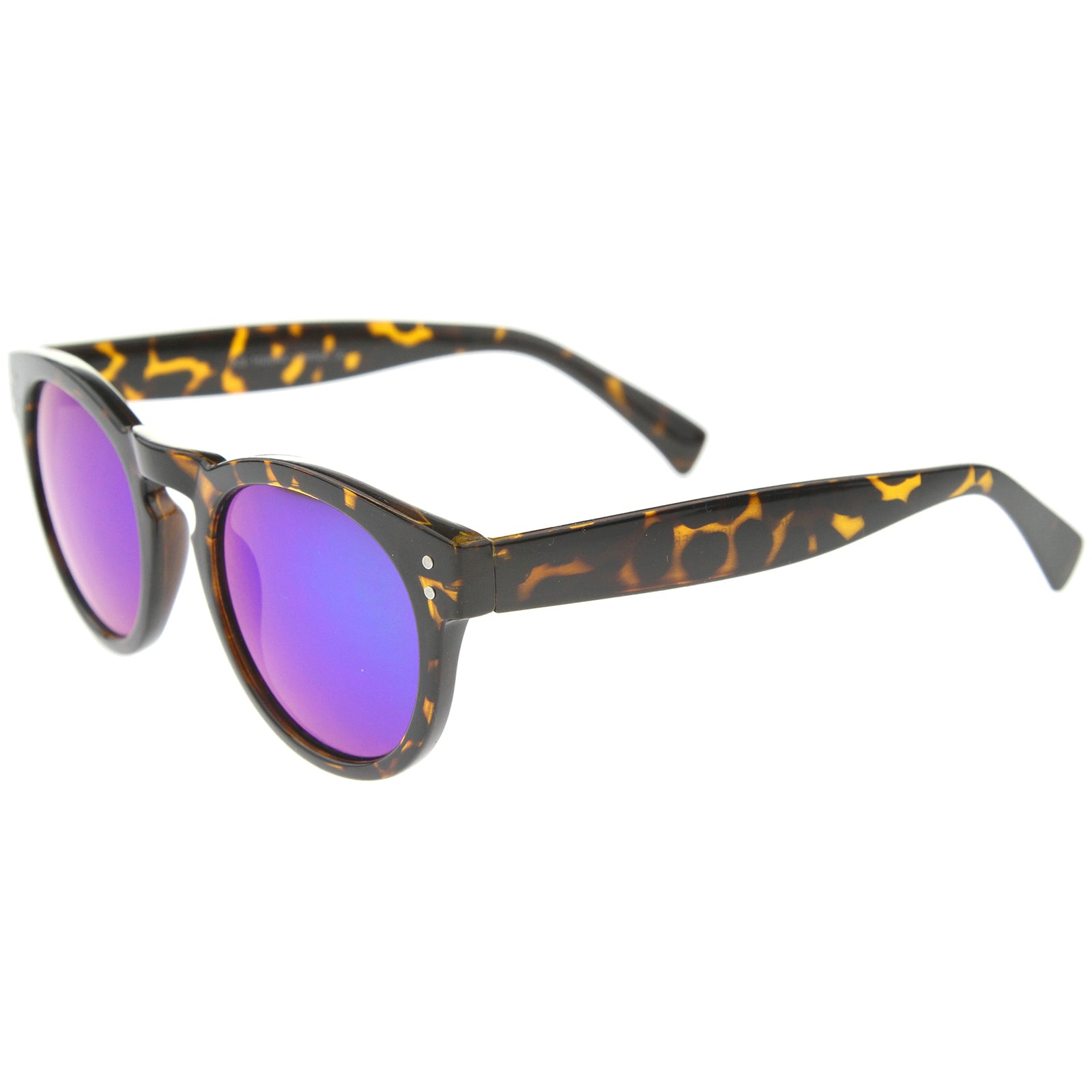 Womens Horn Rimmed Sunglasses With UV400 Protected Mirrored Lens - sunglass.la - 3