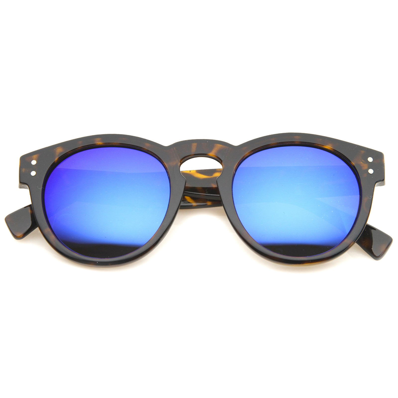 Womens Horn Rimmed Sunglasses With UV400 Protected Mirrored Lens - sunglass.la - 5