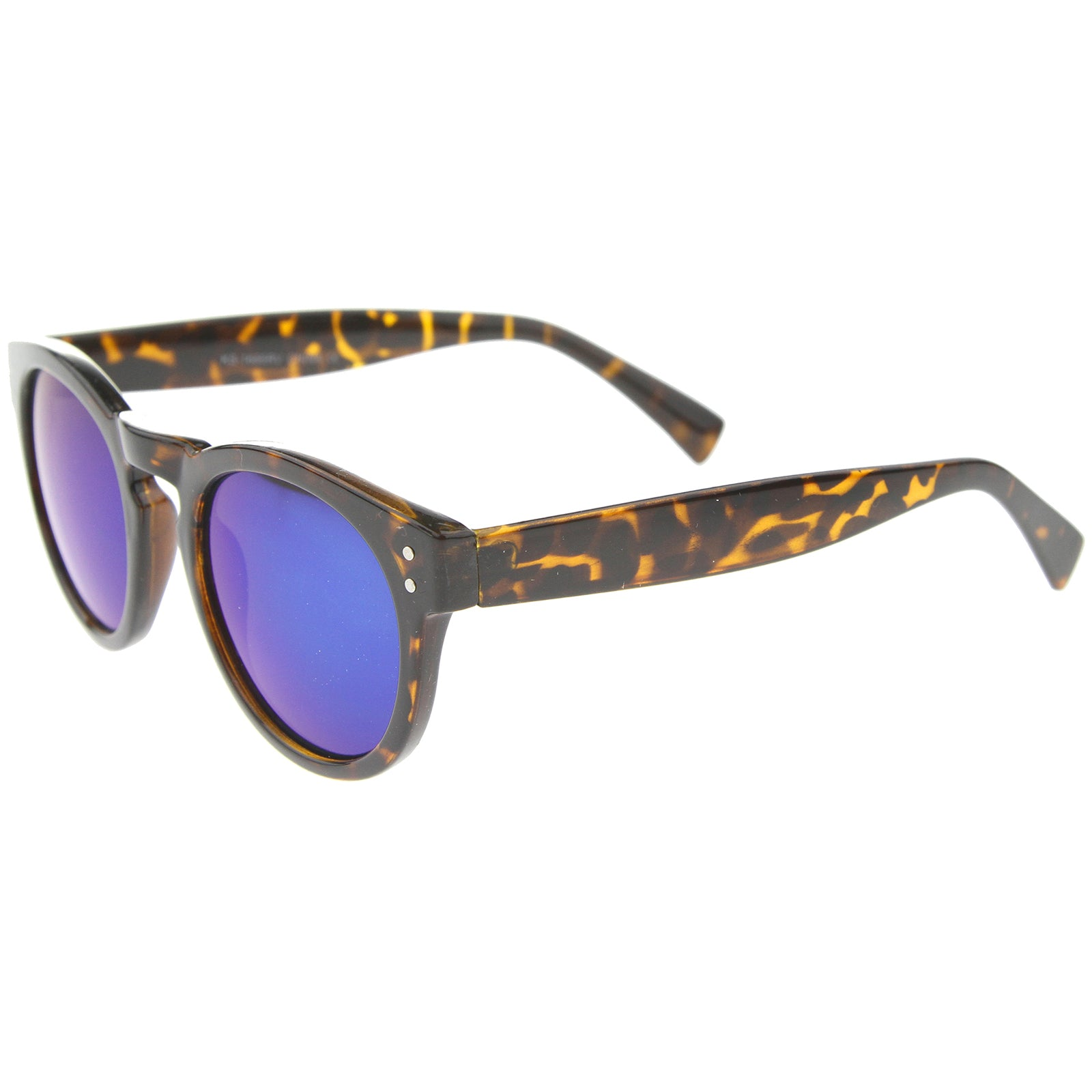 Womens Horn Rimmed Sunglasses With UV400 Protected Mirrored Lens - sunglass.la - 7