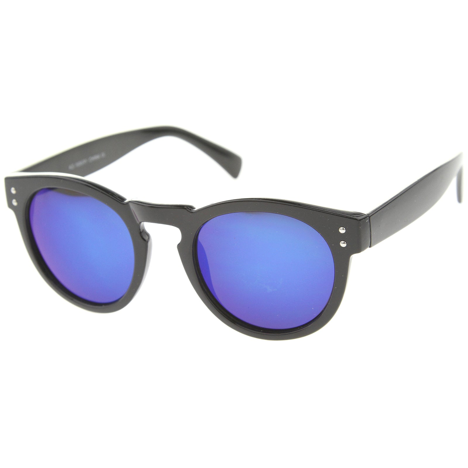 Womens Horn Rimmed Sunglasses With UV400 Protected Mirrored Lens - sunglass.la - 14
