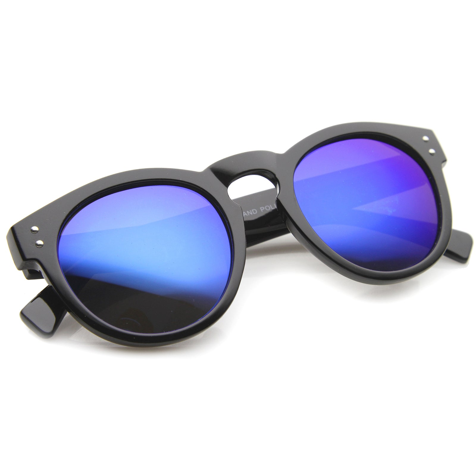 Womens Horn Rimmed Sunglasses With UV400 Protected Mirrored Lens - sunglass.la - 16