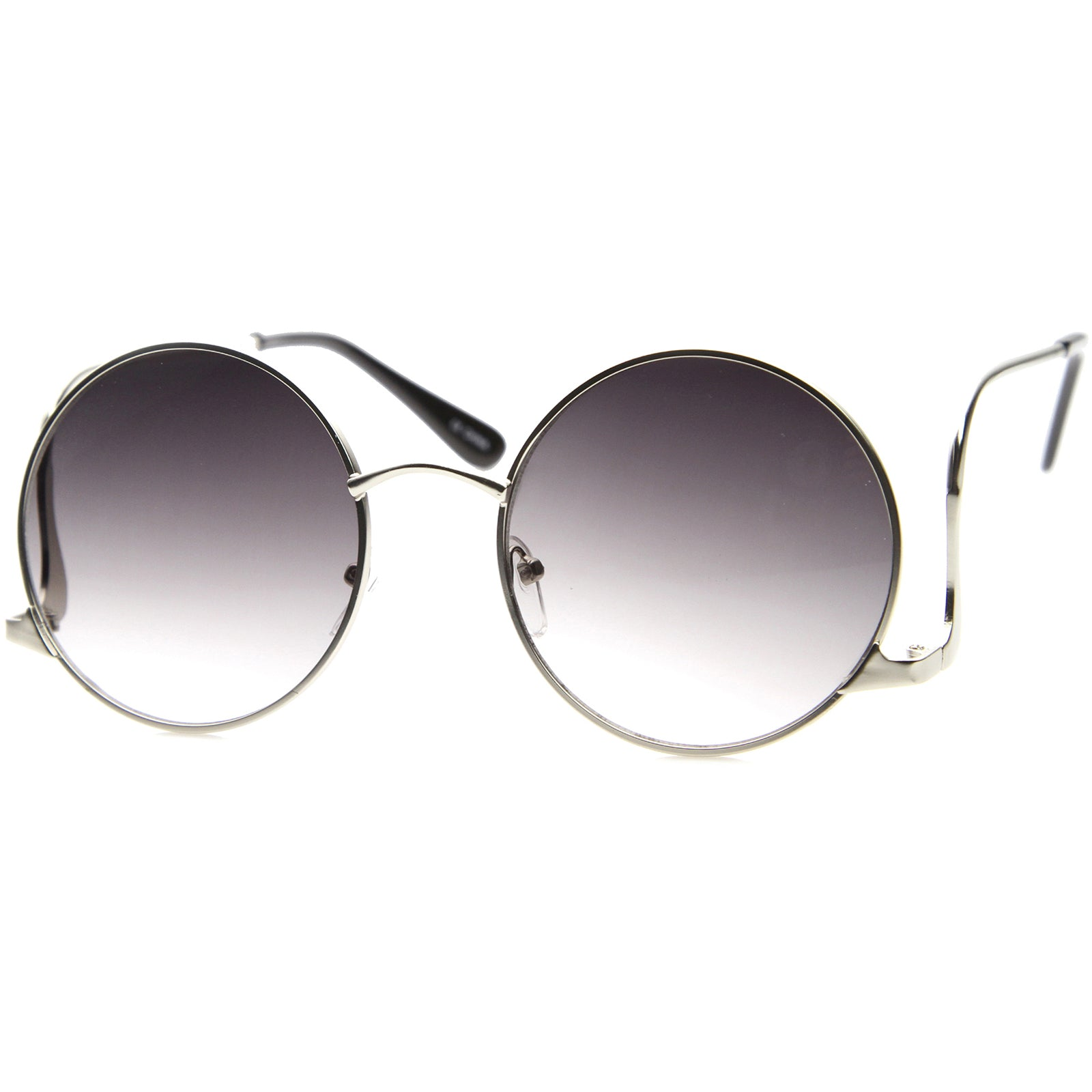 Mens Metal Round Sunglasses With UV400 Protected Gradient Lens - sunglass.la - 2