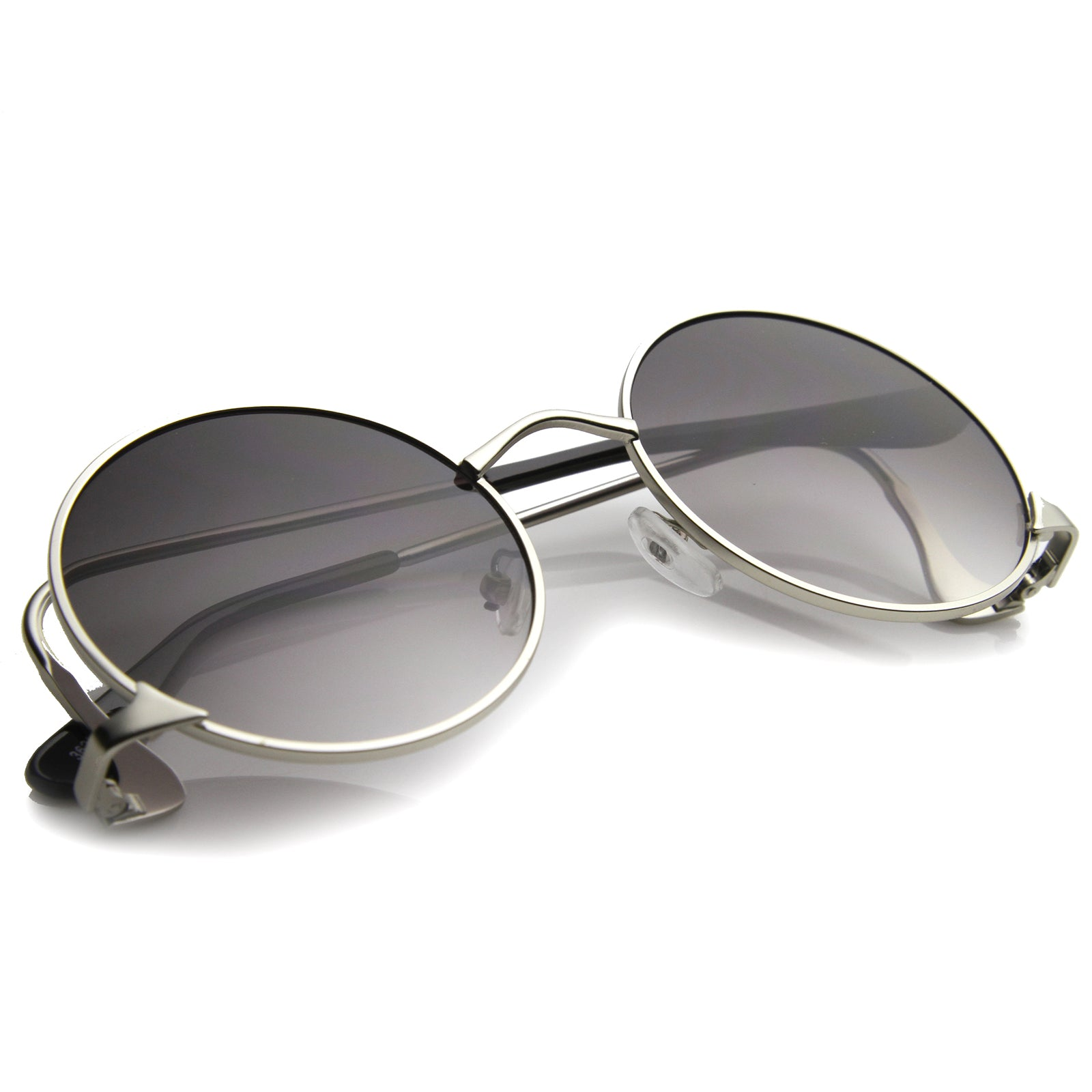 Mens Metal Round Sunglasses With UV400 Protected Gradient Lens - sunglass.la - 4