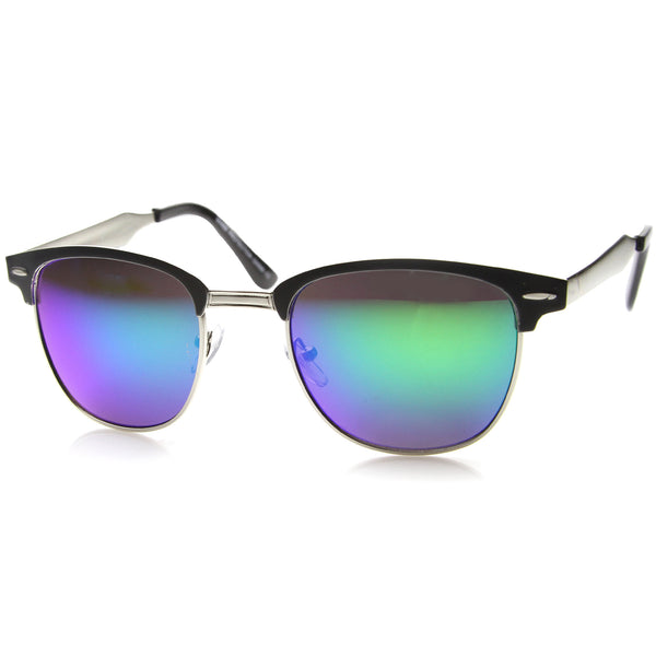 Mens Metal Semi-Rimless Sunglasses With UV400 Protected Mirrored Lens - sunglass.la - 1