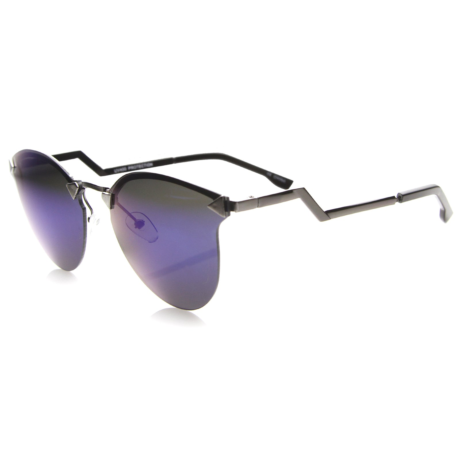 Mens Metal Aviator Sunglasses With UV400 Protected Mirrored Lens - sunglass.la - 3
