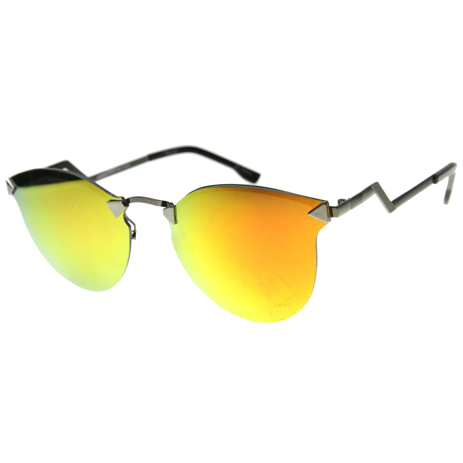 Mens Metal Aviator Sunglasses With UV400 Protected Mirrored Lens - sunglass.la - 5