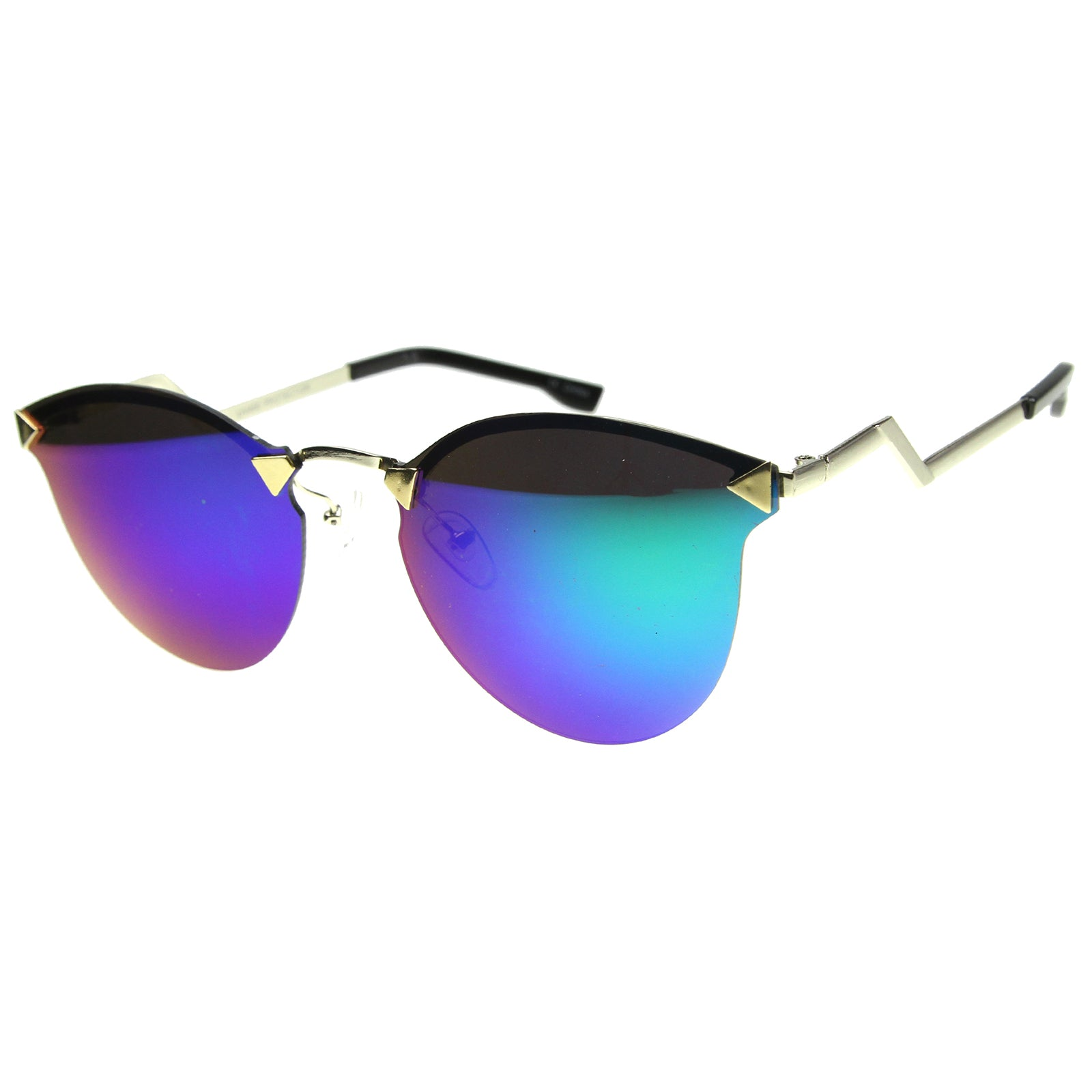 Mens Metal Aviator Sunglasses With UV400 Protected Mirrored Lens - sunglass.la - 6