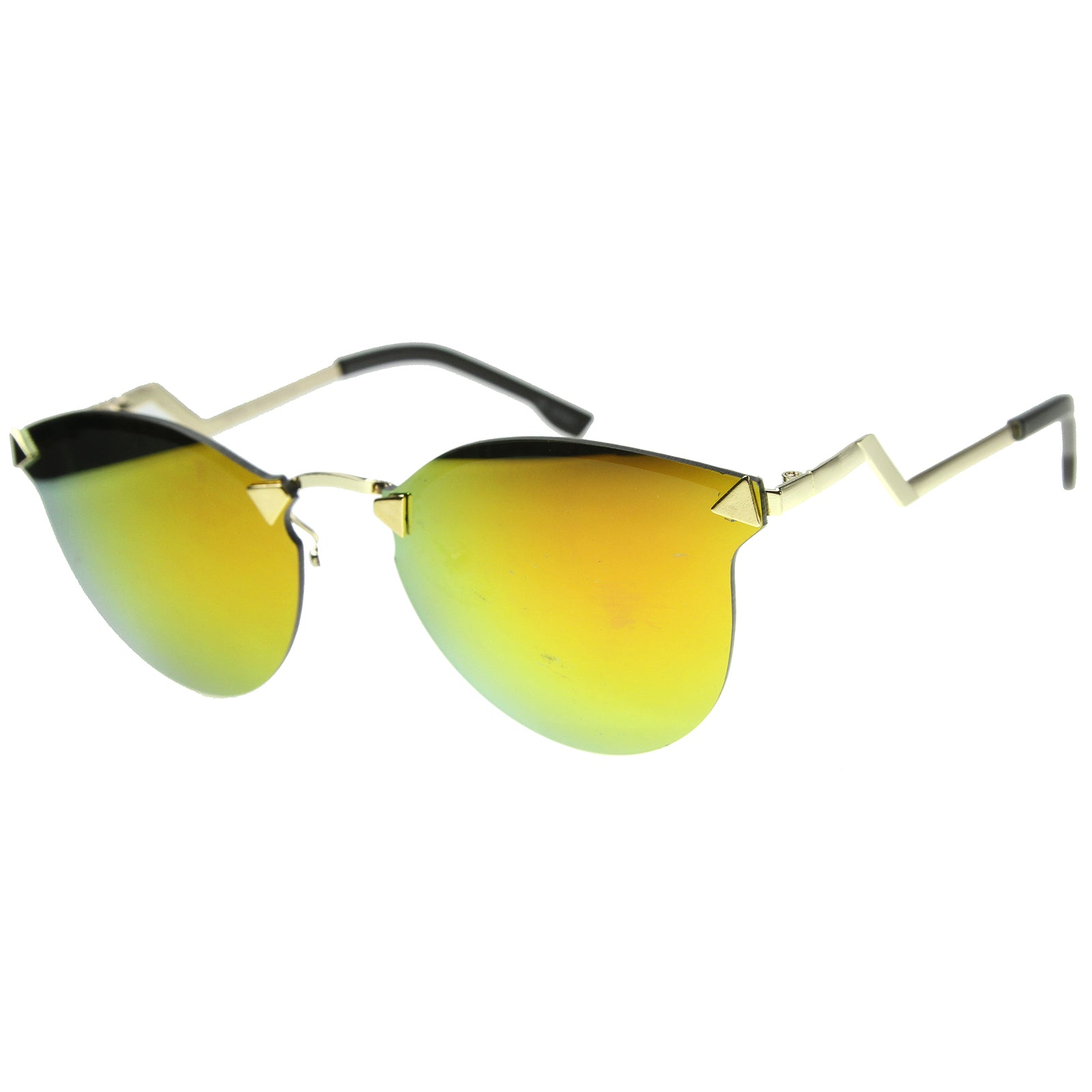 Mens Metal Aviator Sunglasses With UV400 Protected Mirrored Lens - sunglass.la - 7