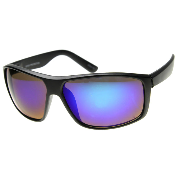 Mens Rectangular Sunglasses With UV400 Protected Mirrored Lens - sunglass.la - 1