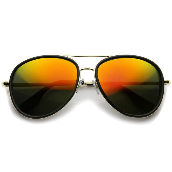 Mens Aviator Sunglasses With UV400 Protected Mirrored Lens - sunglass.la - 1