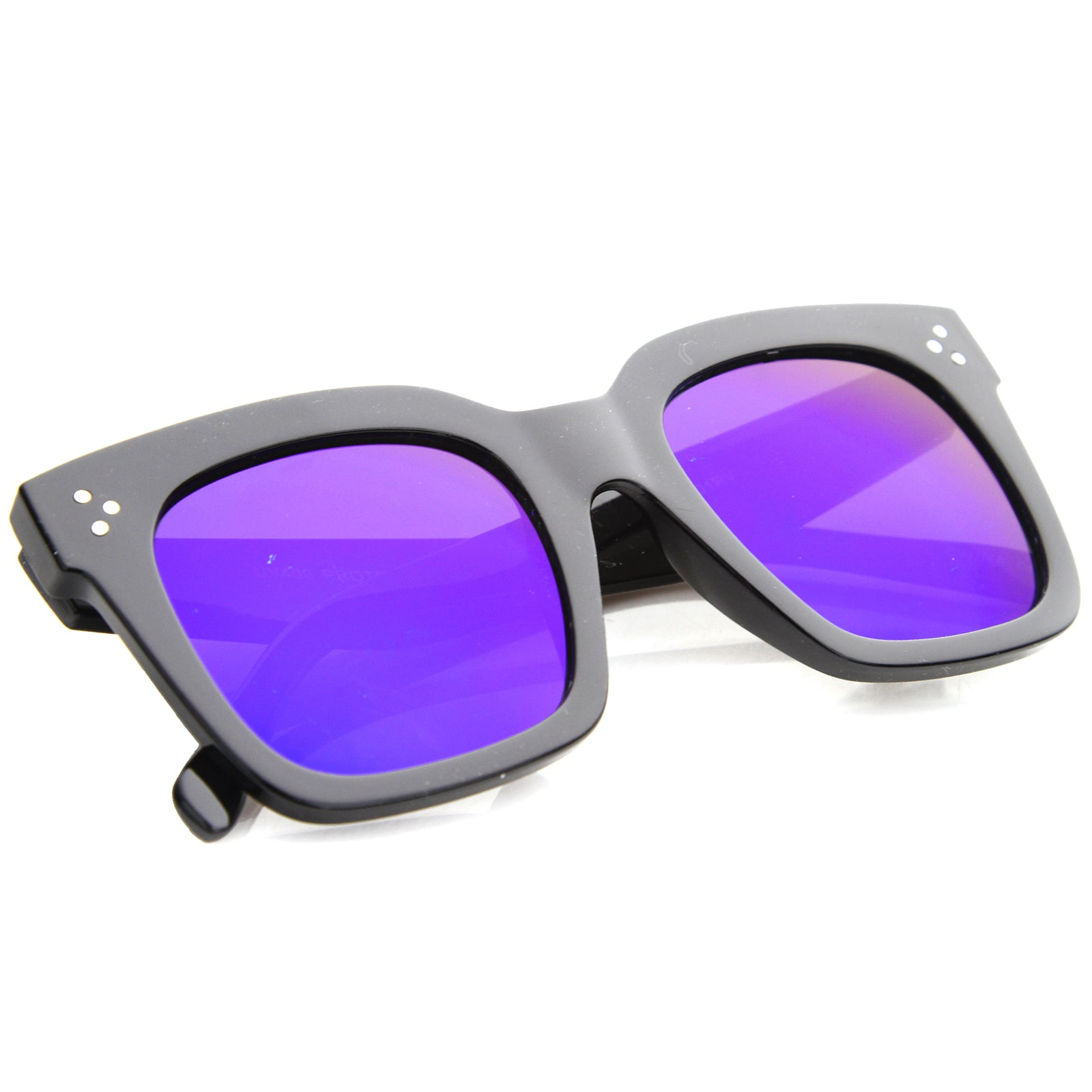 Womens Horn Rimmed Sunglasses With UV400 Protected Mirrored Lens - sunglass.la - 8