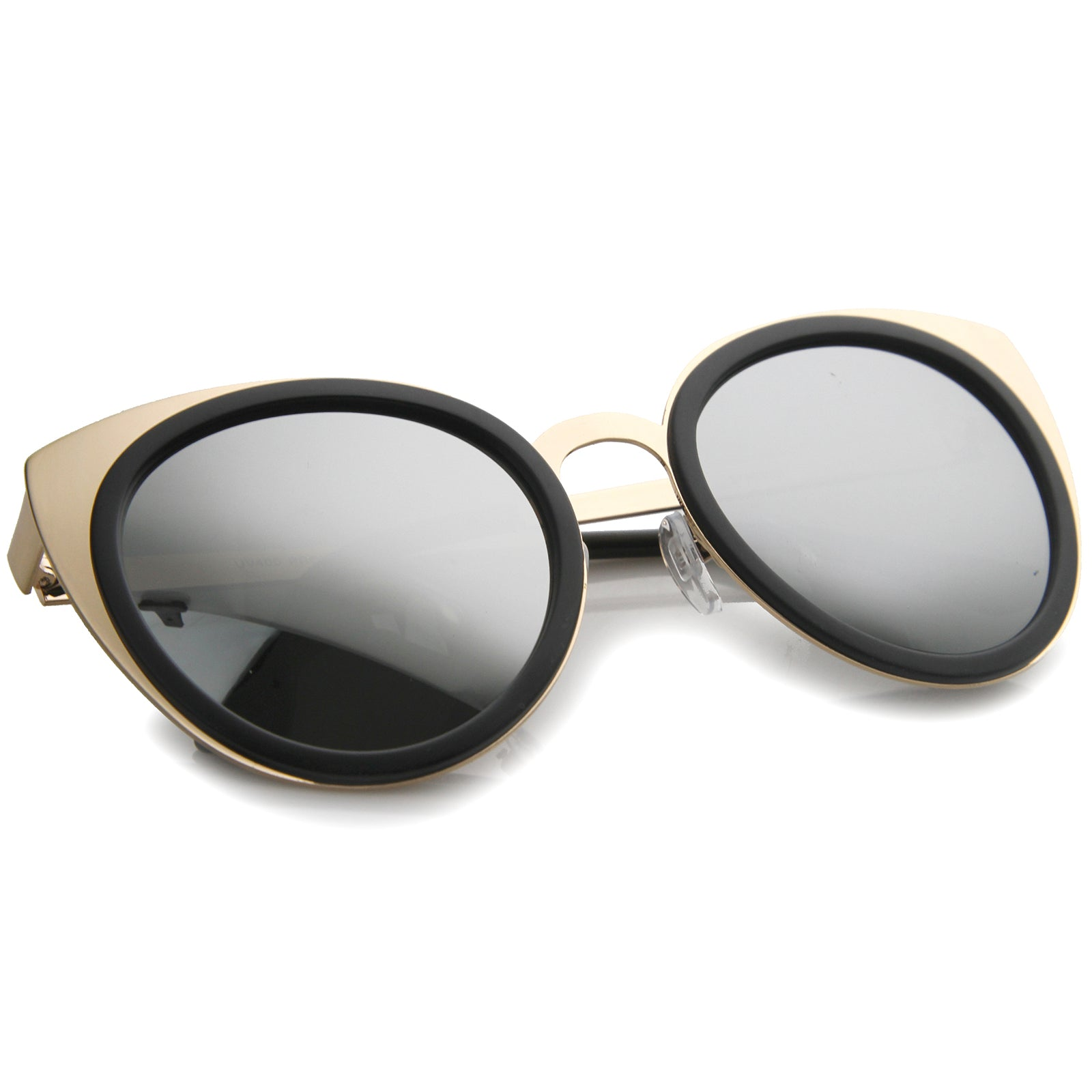 Womens Metal Cat Eye Sunglasses With UV400 Protected Mirrored Lens - sunglass.la - 4