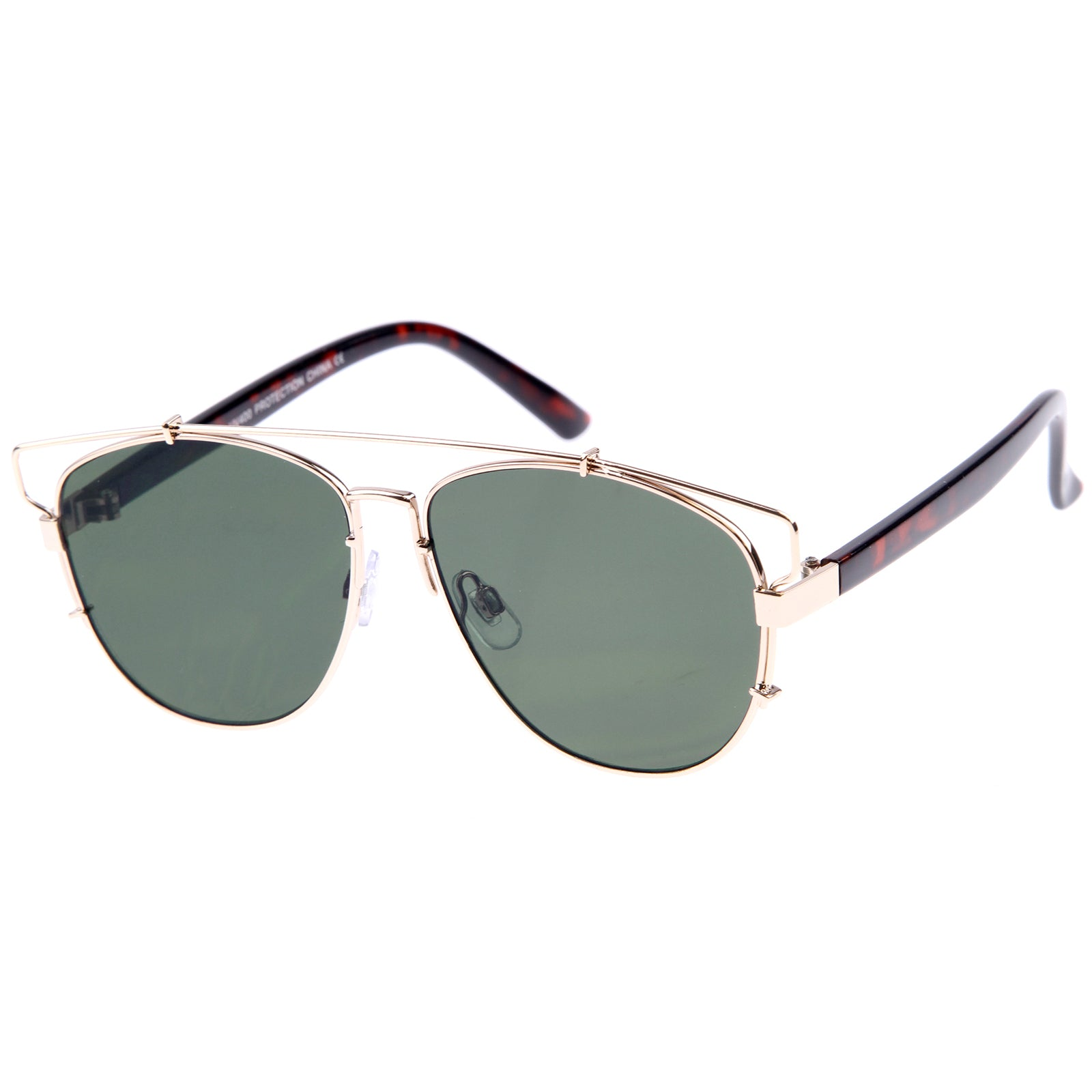 Gold-Tortoise / Green Sunglasses
