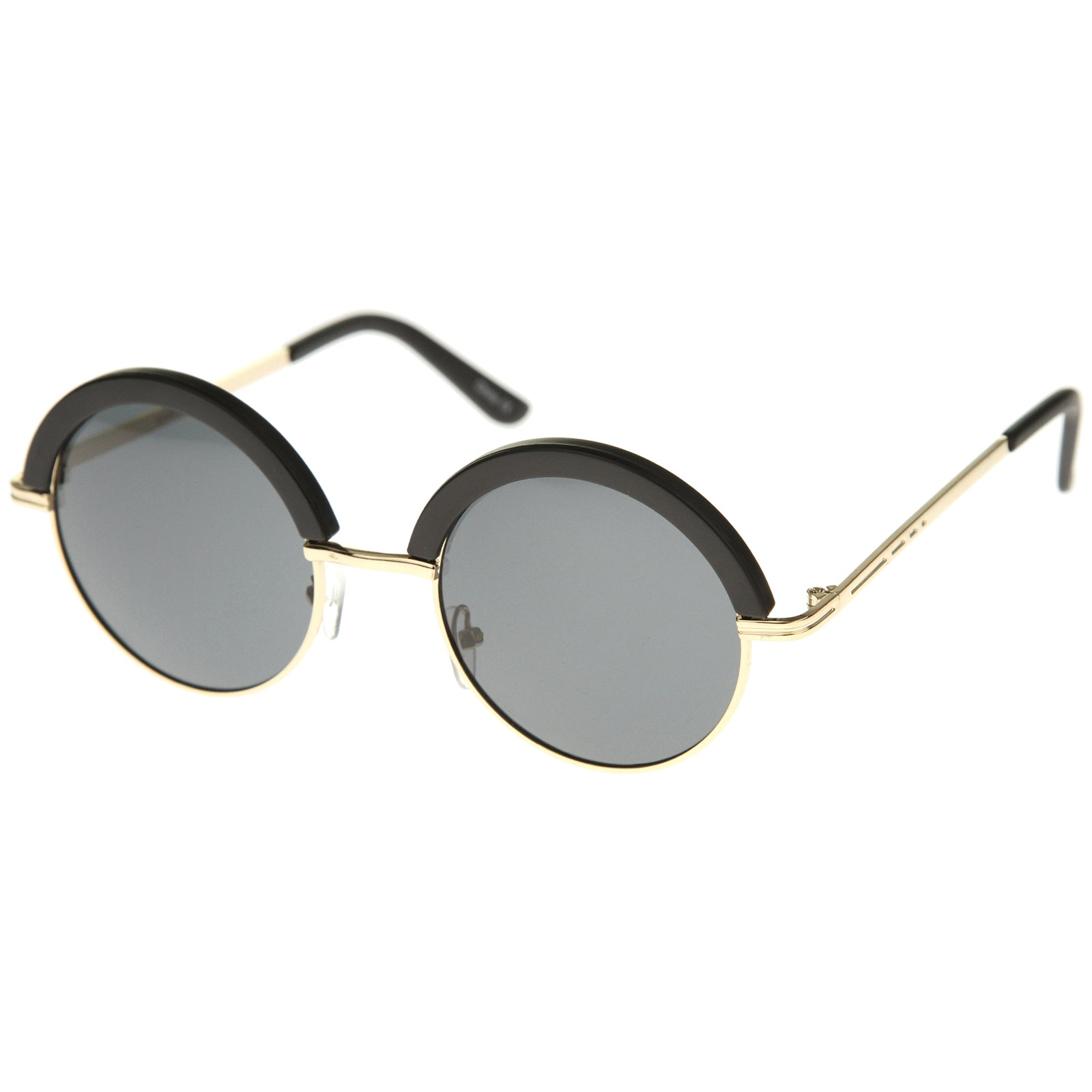 Womens Metal Round Sunglasses With UV400 Protected Composite Lens - sunglass.la - 2