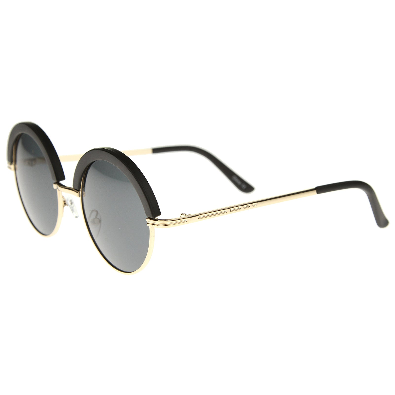 Womens Metal Round Sunglasses With UV400 Protected Composite Lens - sunglass.la - 3