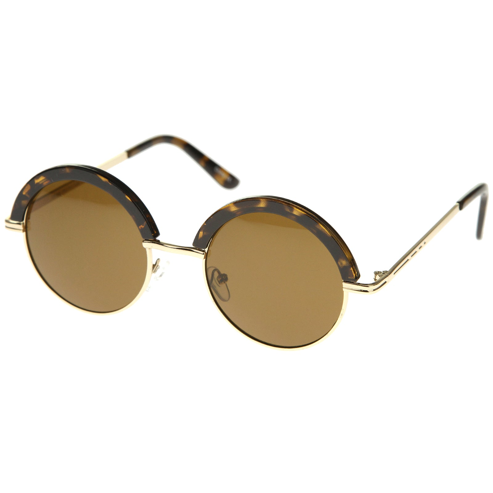 Womens Metal Round Sunglasses With UV400 Protected Composite Lens - sunglass.la - 6