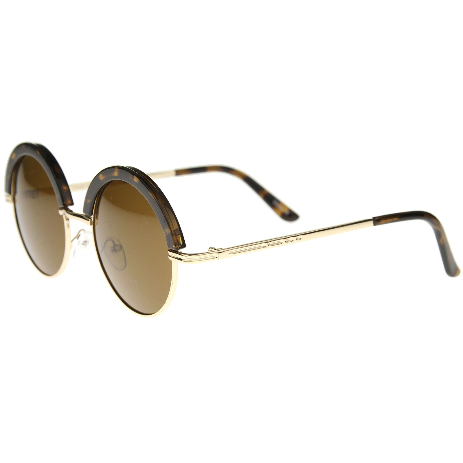 Womens Metal Round Sunglasses With UV400 Protected Composite Lens - sunglass.la - 7
