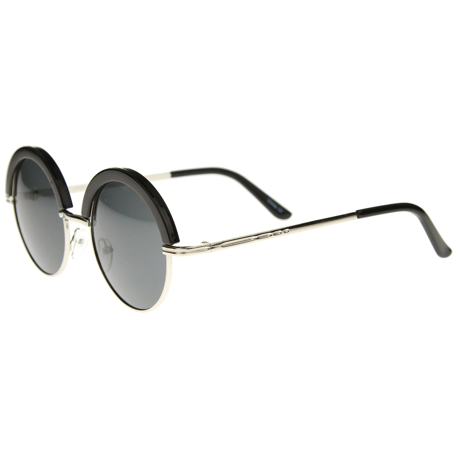 Womens Metal Round Sunglasses With UV400 Protected Composite Lens - sunglass.la - 11