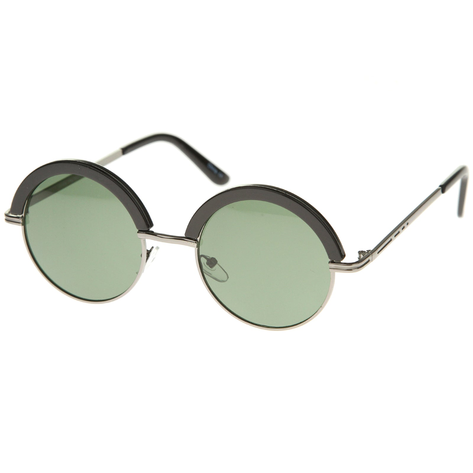 Womens Metal Round Sunglasses With UV400 Protected Composite Lens - sunglass.la - 14