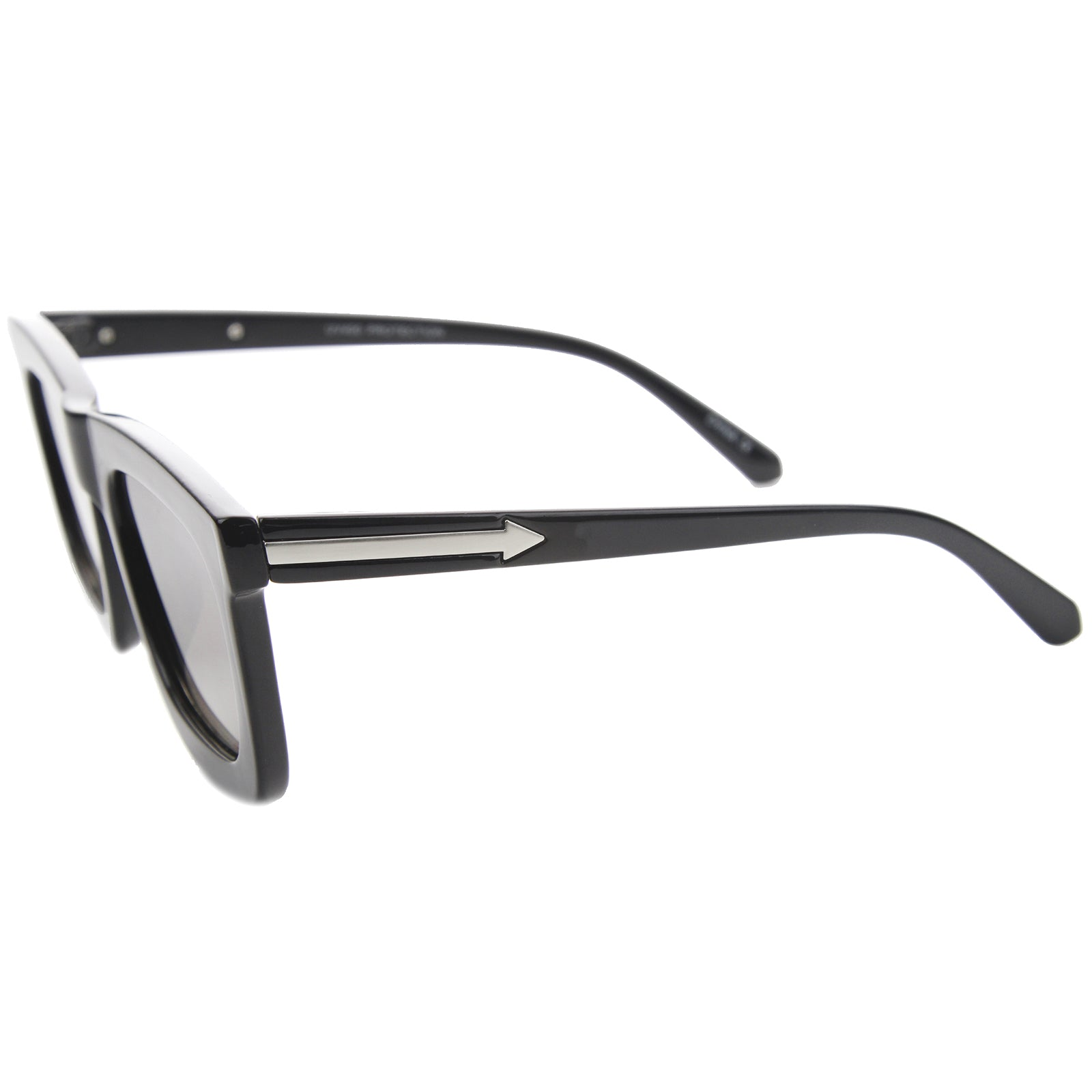 High Fashion Arrow Accented Horn Rimmed Flat Lens Bold Square Sunglasses 65mm - sunglass.la
