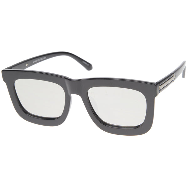 High Fashion Horn Rimmed Flash Mirror Flat Lens Bold Square Sunglasses 65mm - sunglass.la
