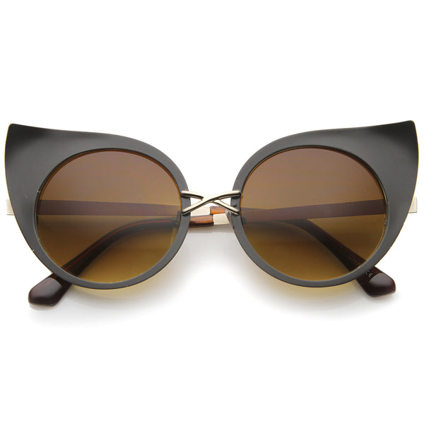 Women's Fashion Exaggerated Curved Round Cat Eye Sunglasses 47mm - sunglass.la - 1