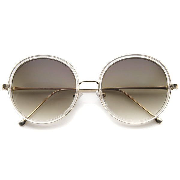 Retro Fashion Metal Temple Two-Tone Oversize Round Sunglasses 53mm - sunglass.la - 1