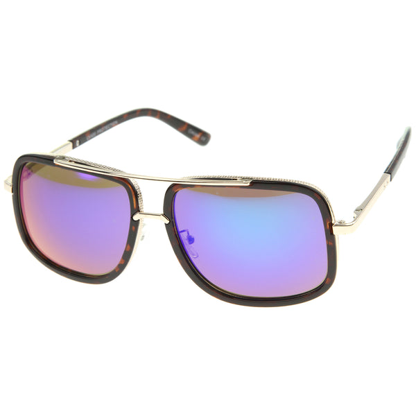 Modern Brow Bar Color Mirror Lens Oversize Square Aviator Sunglasses 59mm - sunglass.la - 1