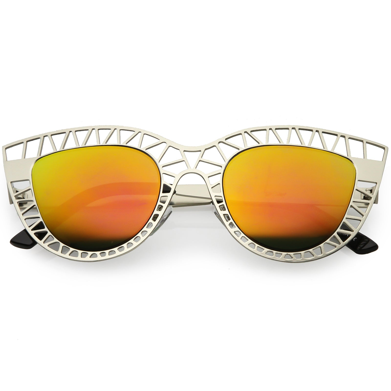 1758c8ccd338a Unique Laser Cut Out Cat Eye Sunglasses With Color Mirrored Lens ...