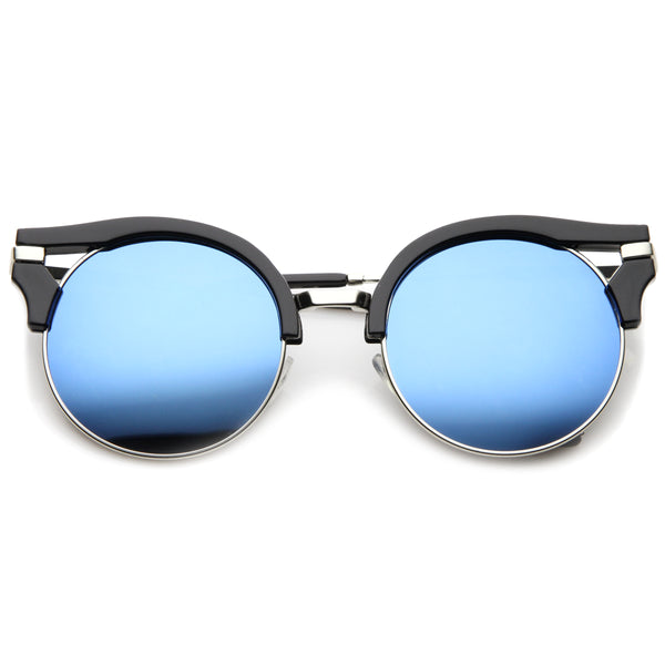 Round Half-Frame Cutout Color Mirror Flat Lens Cat Eye Sunglasses 56mm - sunglass.la - 1