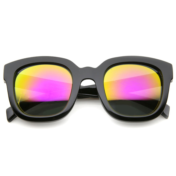 Bold Oversize Chunky Frame Horn Rimmed Mirror Lens Square Sunglasses 53mm - sunglass.la