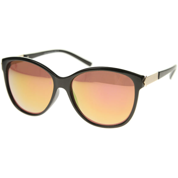 Womens Fashion Metal Temple Colored Mirror Oversize Cat Eye Sunglasses 59mm - sunglass.la - 1