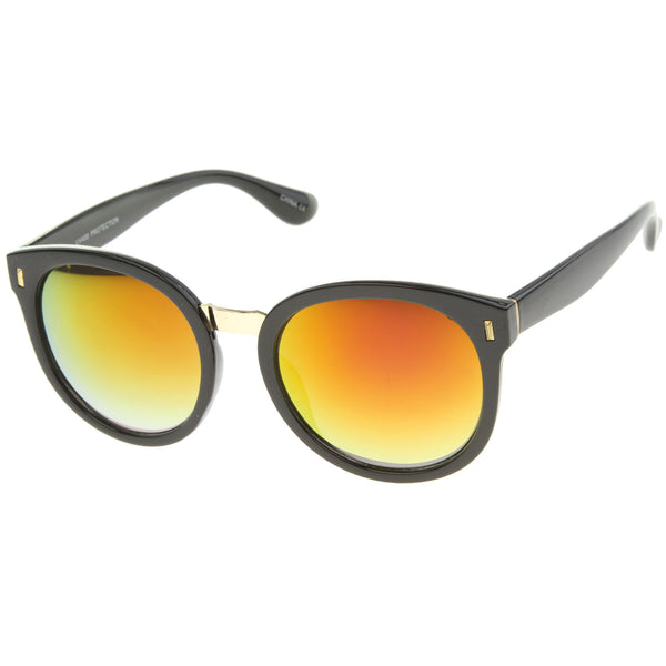 High Fashion Horn Rimmed Colored Mirror Lens Oversize Round Sunglasses 55mm - sunglass.la