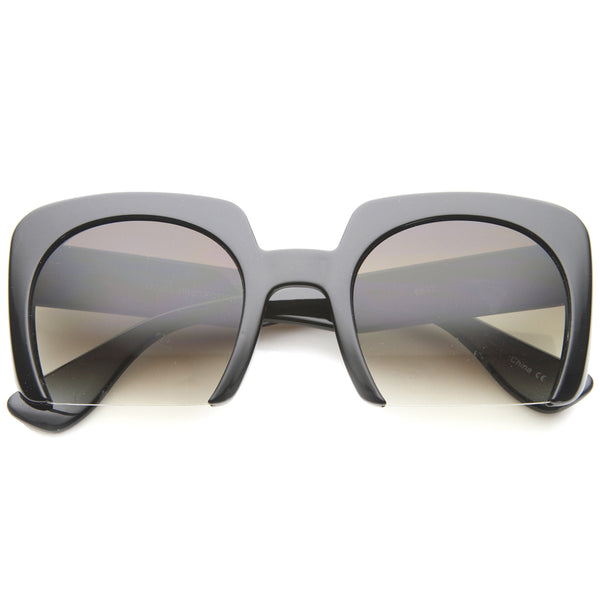 Elegant High Fashion Bold Bottom Cut Semi-Rimless Square Sunglasses 52mm - sunglass.la