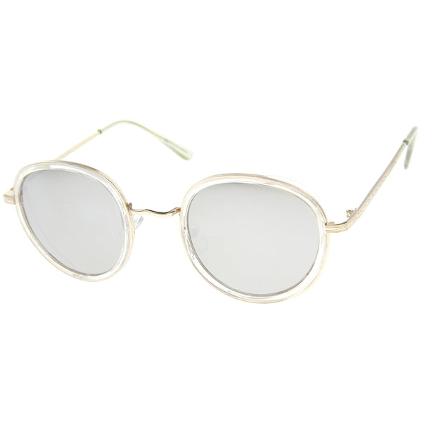 Classic Dapper Side Cover Colored Mirror Lens Round Sunglasses 52mm - sunglass.la
