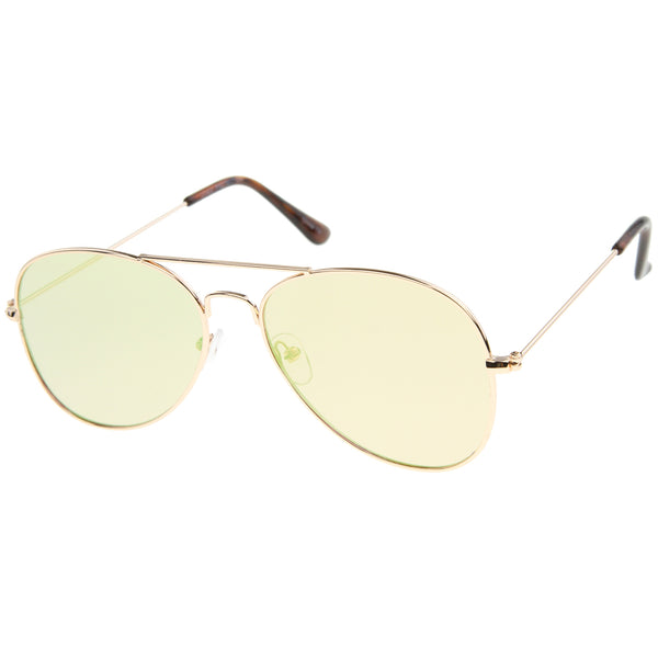 Classic Double Bridge Colored Mirror Flat Lens Aviator Sunglasses 55mm - sunglass.la