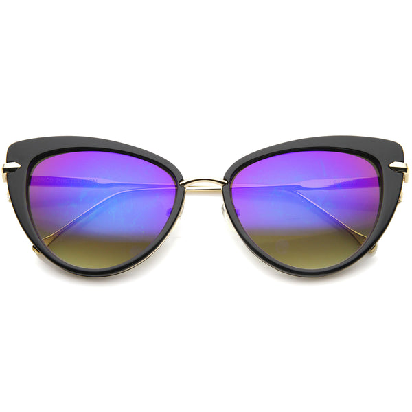 Women's High Fashion Metal Temple Super Cat Eye Sunglasses 55mm - sunglass.la - 1