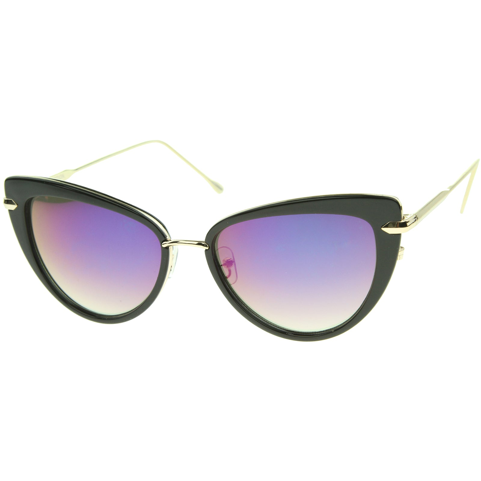 Women's High Fashion Metal Temple Super Cat Eye Sunglasses 55mm - sunglass.la - 2