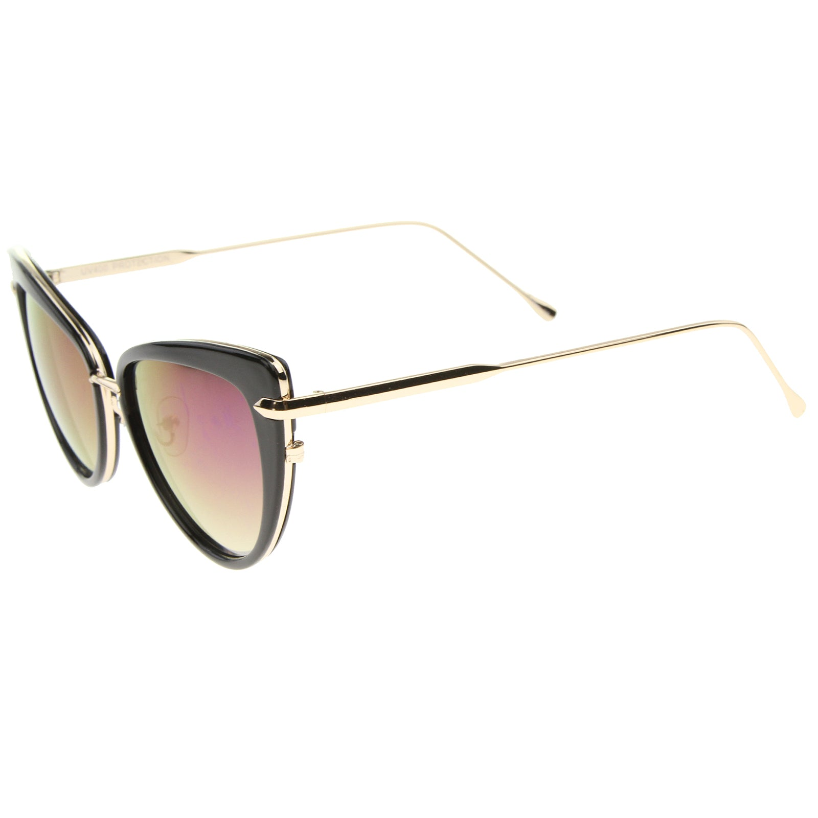 Women's High Fashion Metal Temple Super Cat Eye Sunglasses 55mm - sunglass.la - 3