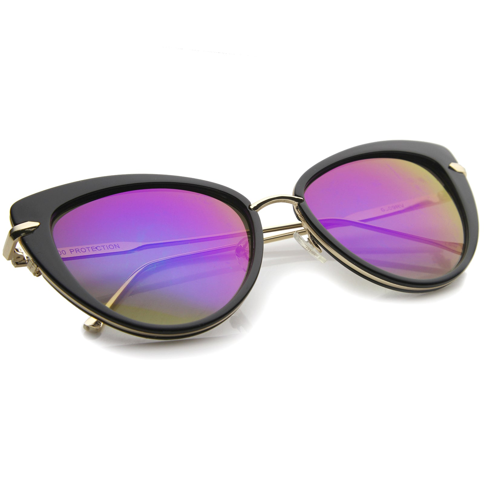 Women's High Fashion Metal Temple Super Cat Eye Sunglasses 55mm - sunglass.la - 4