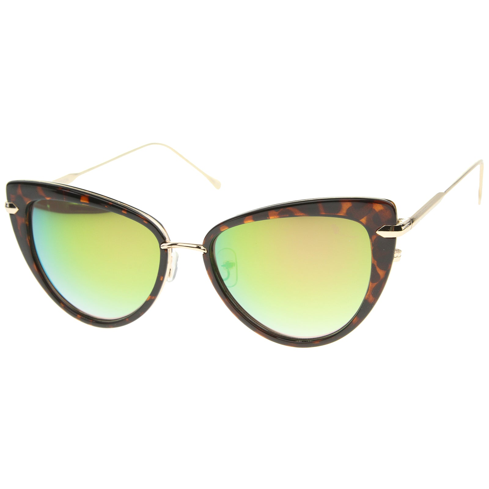 Women's High Fashion Metal Temple Super Cat Eye Sunglasses 55mm - sunglass.la - 6